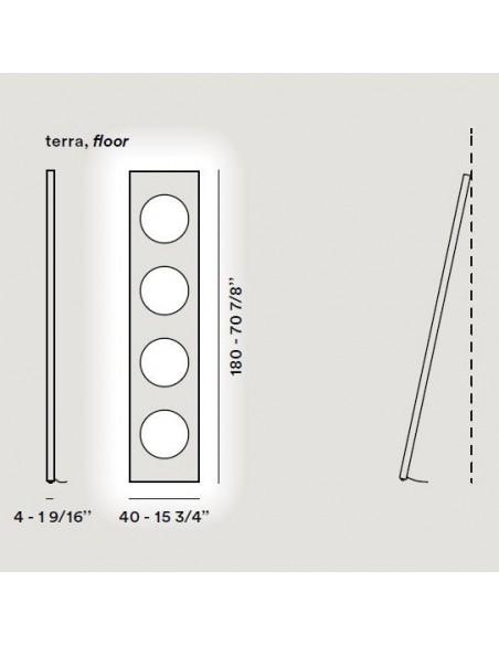 Valente design luminaires Lampadaire Dolmen schema dimensions