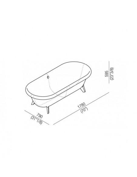 Baignoire Ottocento plan dimensions de la marque Agape