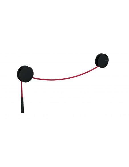 Porte serviette patère noire et corde rouge
