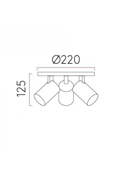 ascoli triple round valente design plafonnier astro lighting dimension plan