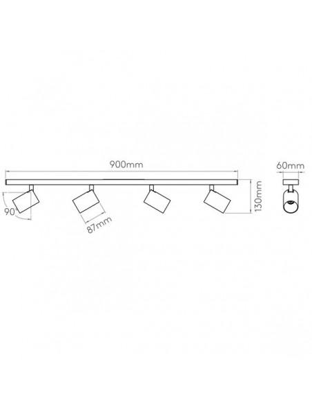 Schéma du plafonnier ascoli 4 bar astro lighting - valente design