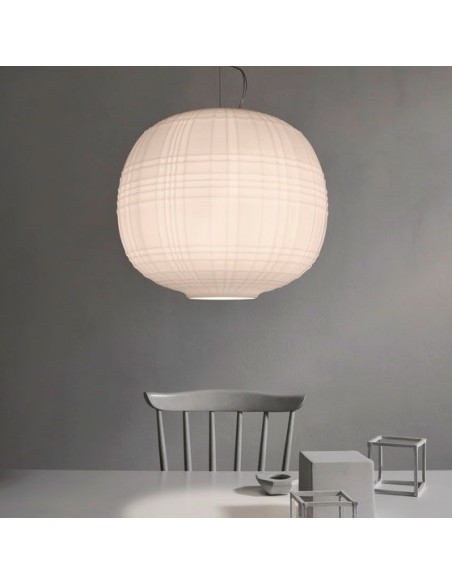 Suspension Tartan Foscarini blanche ambiance