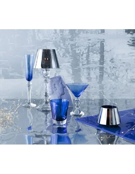 Lampe de table Harcourt Our Fire Bougeoir argent de Philippe Starck pour la marque Baccarat - Valente Design
