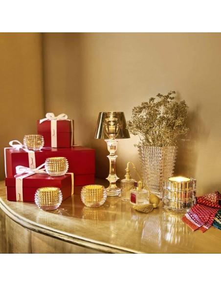 Lampe sur pied Harcourt Our Fire Bougeoir de couleur dorée de Philippe Starck pour la marque Baccarat - Valente Design