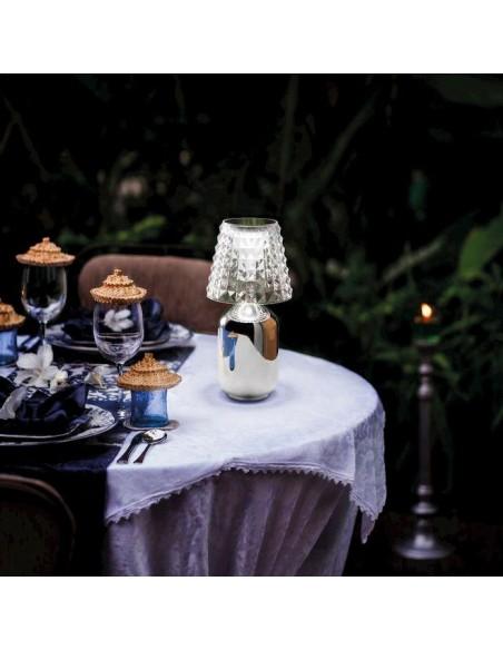 Lampe à poser Valentina chrome ambiance restaurant de Studio Italia Design