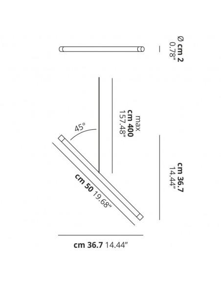 plan dimension Suspension A-Tube Nano Duo de Studio Italia Design