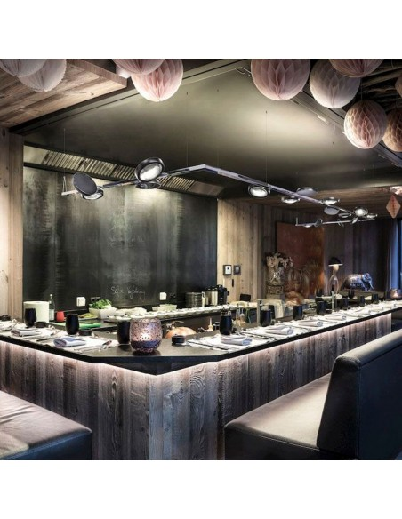 Suspension noire Nautilus noire ambiance bar restaurant de Studio Italia Design