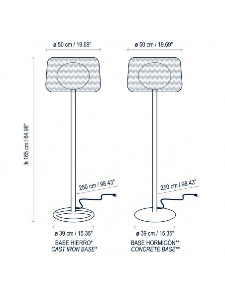 Plan et dimensions lampadaire extérieur FORA P  marque Bover - Valente Design