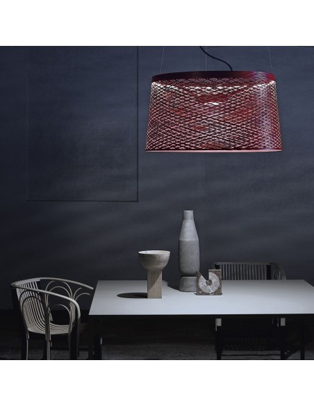 Suspension en ambiance TWIGGY GRID rouge carmin Foscarini