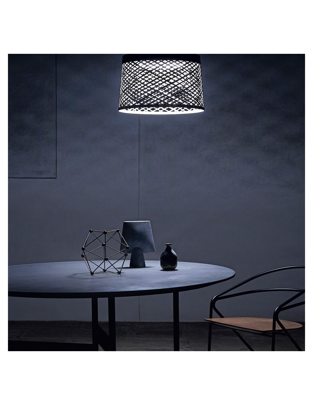 Suspension TWIGGY GRID greige mise en scène Foscarini