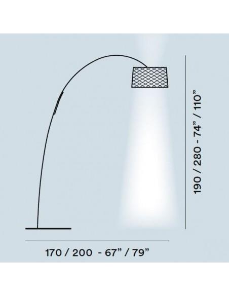 dimensions et plans lampadaire TWIGGY GRID TERRA de FOSCARINI
