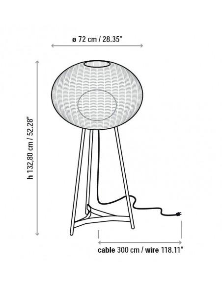 Schéma du lampadaire blanc Garota P 01 BOVER chez Valente Design