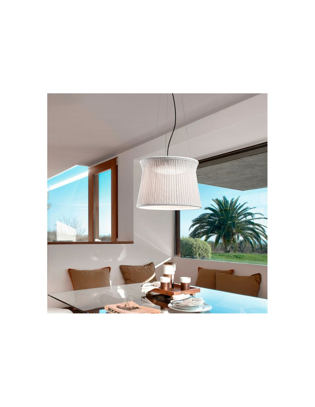 Vue d\'ensemble suspension blanc ivoire SYRA 60 Outdoor de BOVER - Valente Design