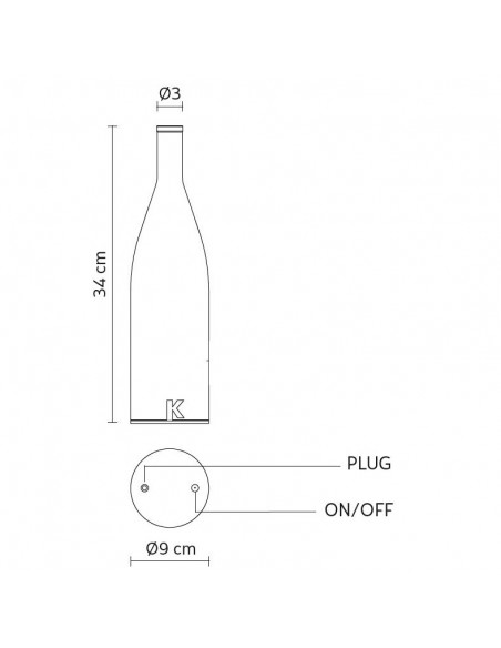 Lampe à poser sans fil Bacco plan dimensions  de chez Karman - Valente Design