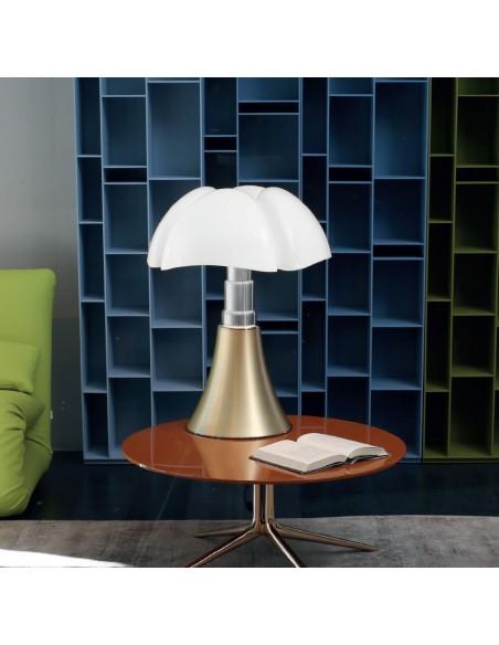Lampe de table Pipistrello Medium LED laiton satiné - Martinelli Luce Valente Design Gae Aulenti