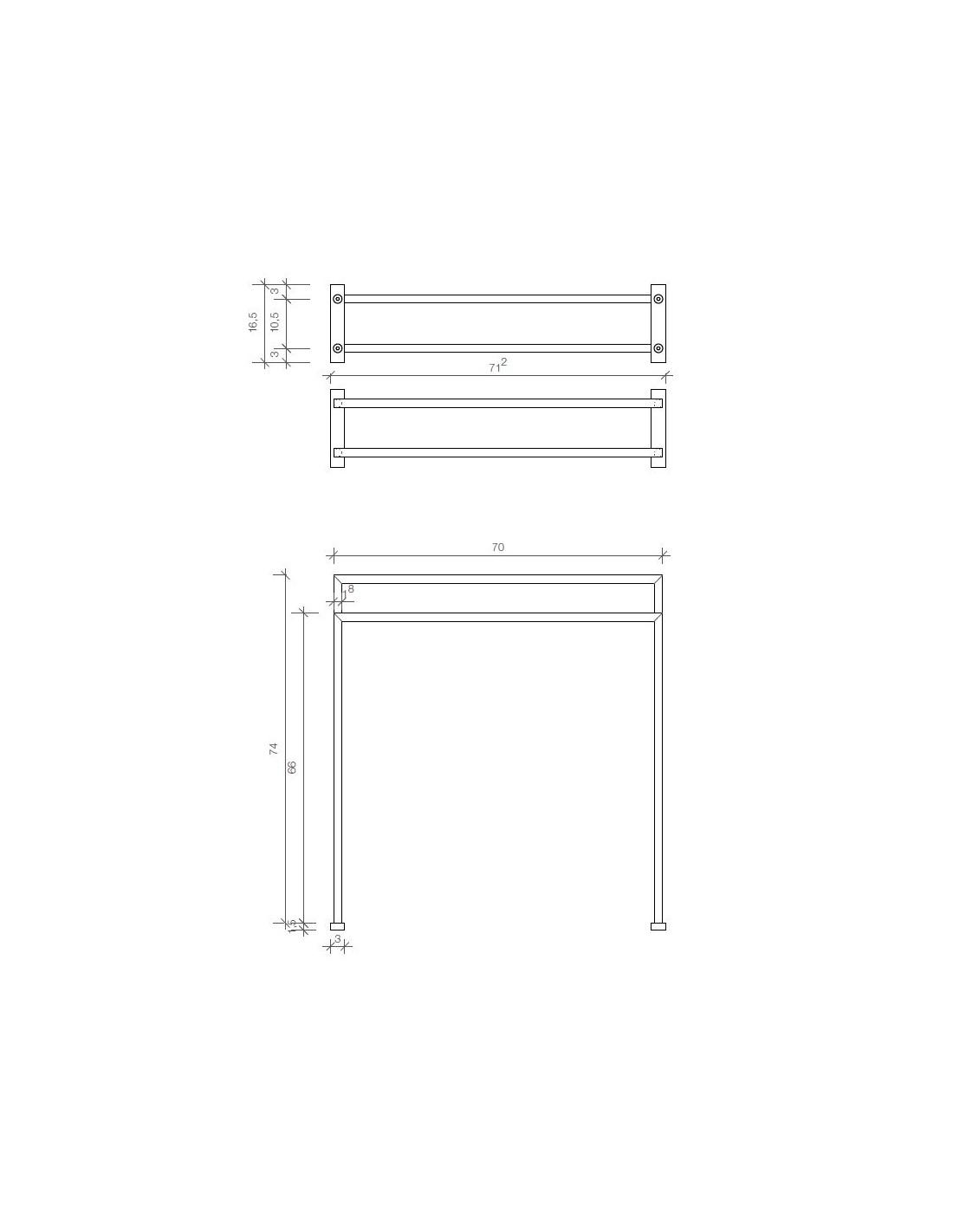 dimension porte serviettes poser ht5 chrom decor walther. Black Bedroom Furniture Sets. Home Design Ideas