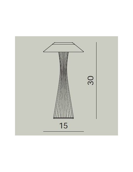 Dimension lampe sans fil Space de kartell - Valente Design