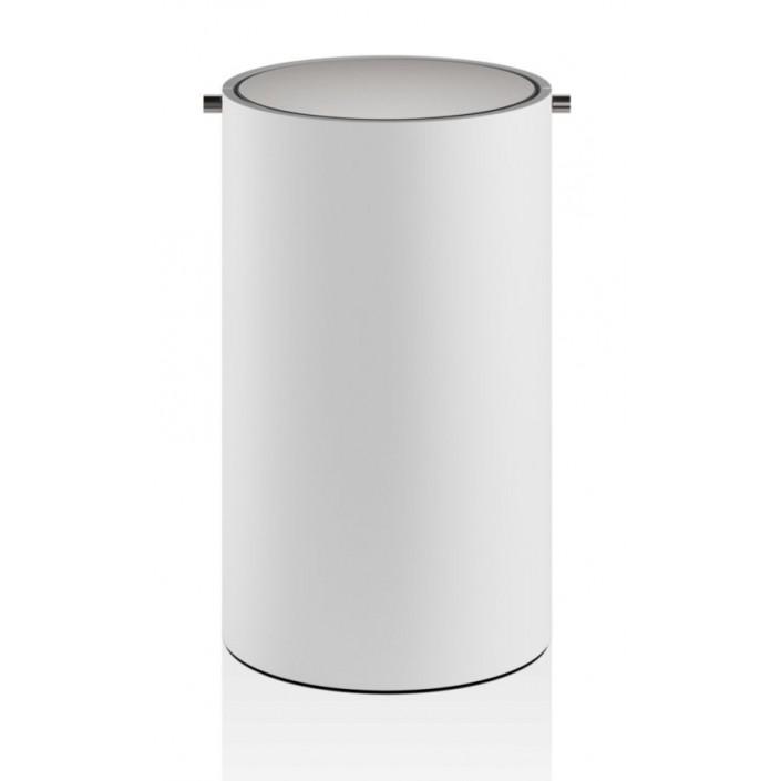 Poubelle blanche couvercle basculant blanc et acier mat Stone - Décor Walther - Valente Design