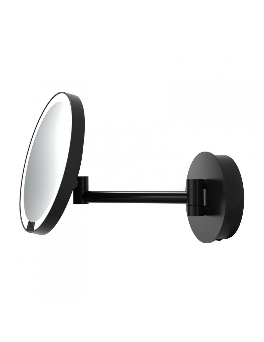 Miroir rond grossissant éclairant à suspendre motion sensor JUST LOOK WR noir mat - Décor Walther - Valente Design