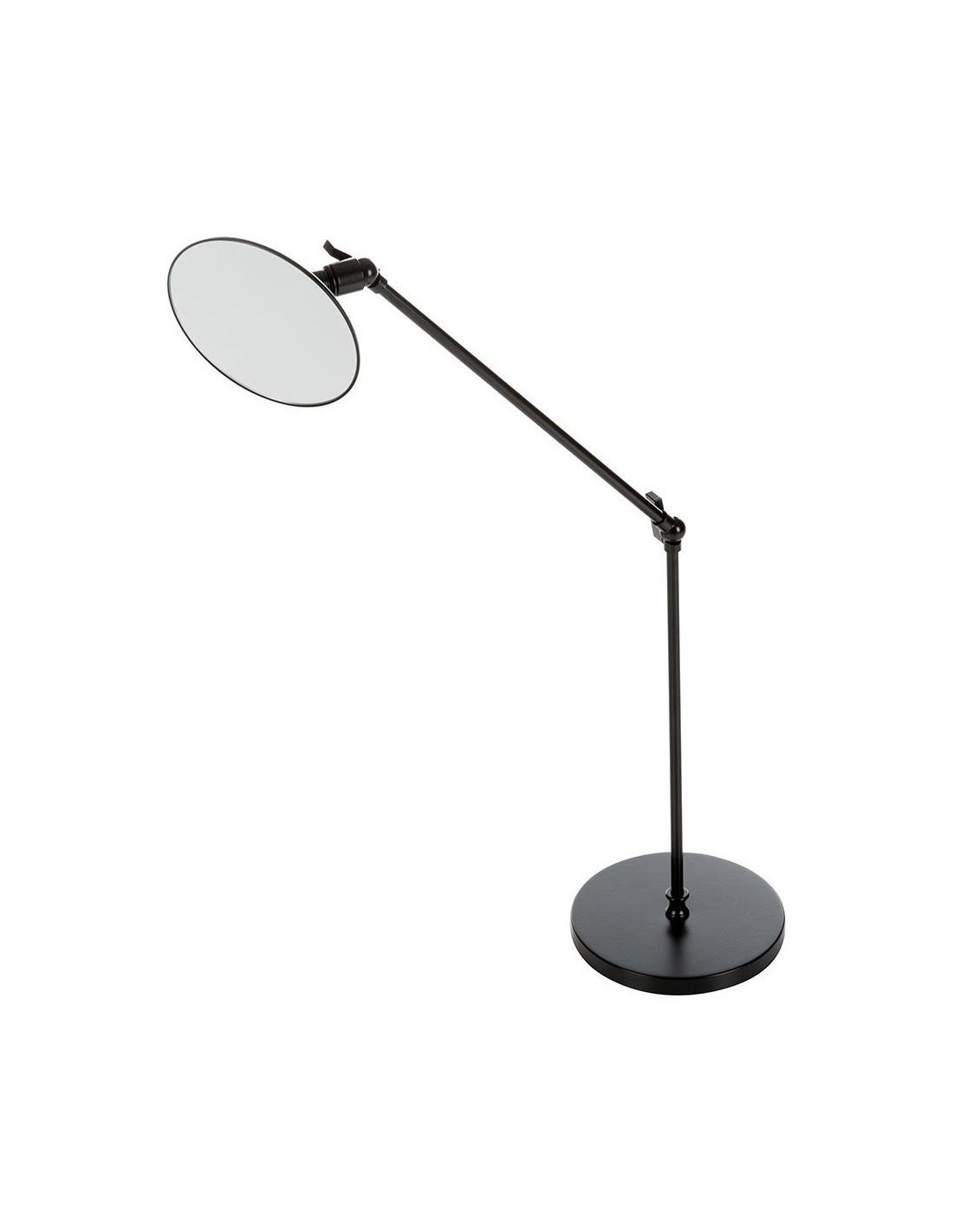 Miroir rond grossissant orientable sur pied SPT 70 noir mat vue de côté - Décor Walther - Valente Design