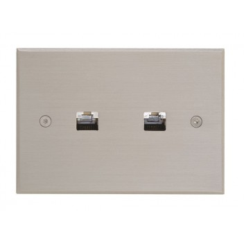 Plaque Rectangulaire Double RJ45 Nickel Brossé