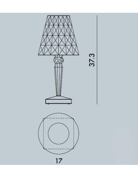 Dimension lampe sans fil Big Battery Kartell Valente Design