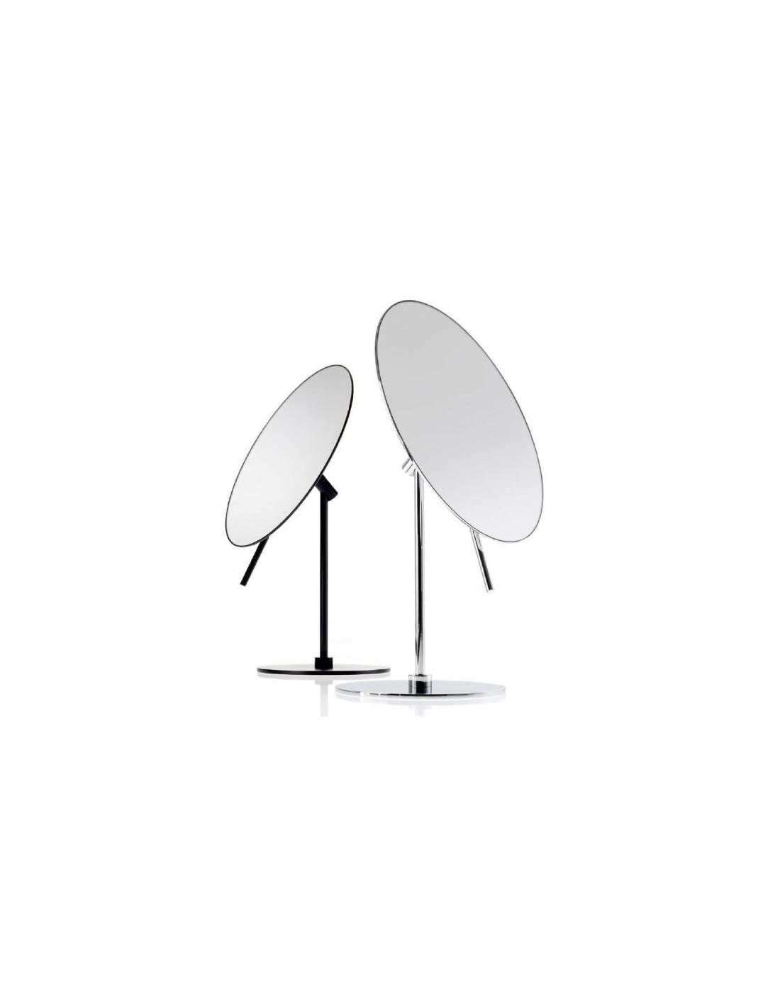 Miroirs ronds grossissants orientables sur pied SPT 71 noir mat et chromé Decor Walther - Valente Design