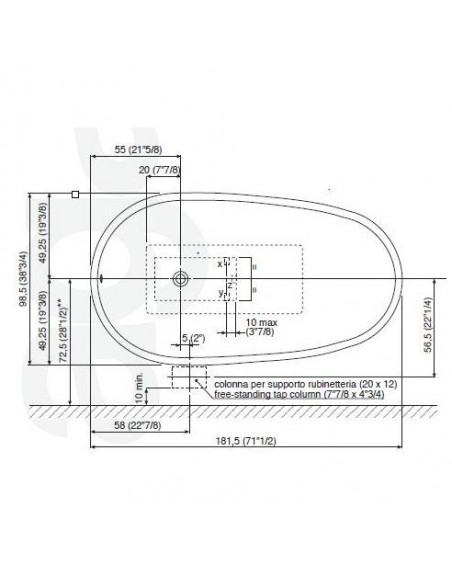 Baignoire Spoon plan dimensionsl  de la marque Agape