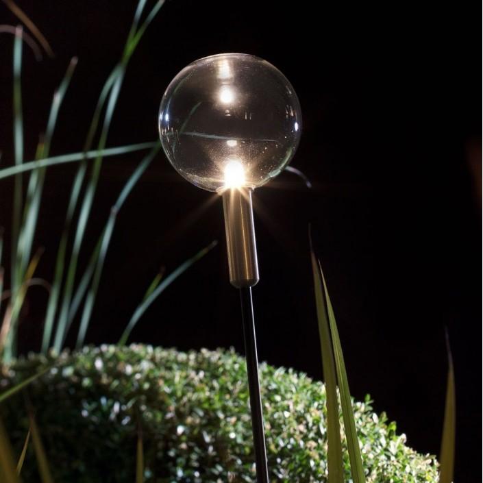 Luminaire sur piquet Syphasfera verre transparent Catellani and Smith Valente Design détail verre transparent