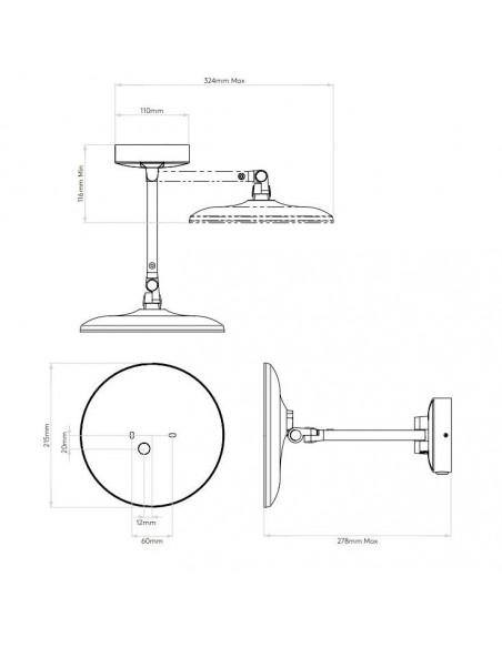Dimensions du miroir Mascali Round LED Astro Lighting Valente Design