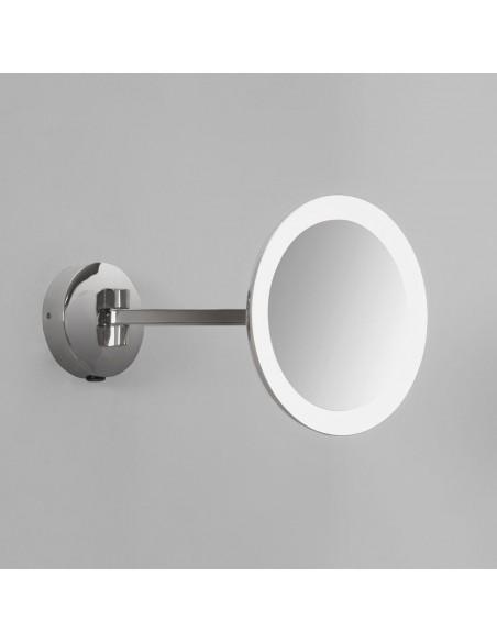 Vue du Miroir Mascali Round LED chrome dépliée Astro Lighting Valente Design