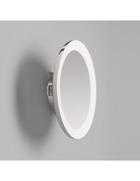 Vue du Miroir Mascali Round LED chrome repliée au mur Astro Lighting Valente Design