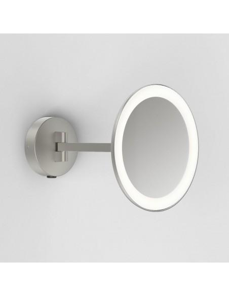 Vue d'ensemble et détails miroir Mascali Round LED nickel mat Astro Lighting Valente Design