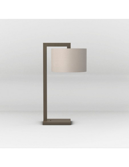 Vue de profils de la lampe de table ravello bronze et abat-jour gris putty astro lighting Valente Design