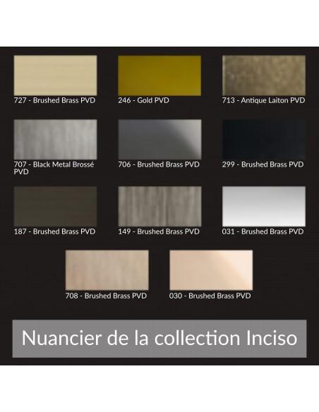 Nuancier pour la collection Inciso de la marque Gessi à retrouver chez Valente Design