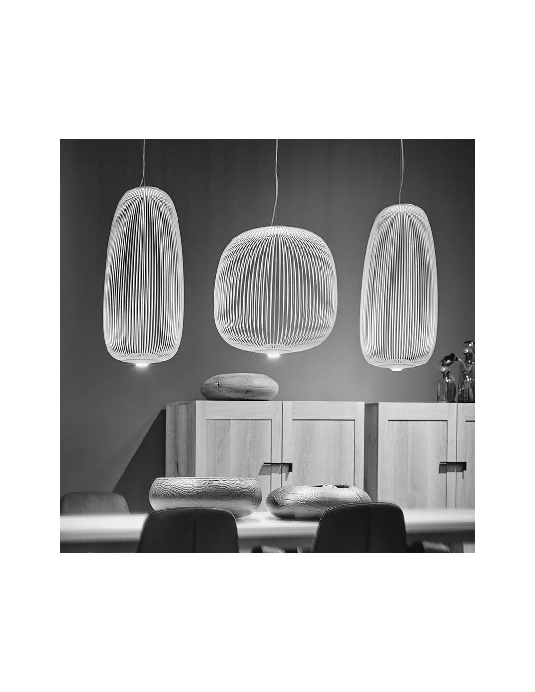 Suspension Spokes 1 blanche Foscarini Valente Design en composition