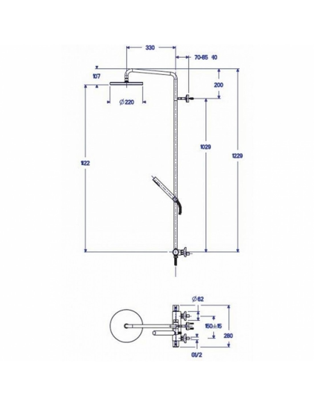 plans et dimensions colonne de douche theta confort de la marque de robinetterie cristina. Black Bedroom Furniture Sets. Home Design Ideas