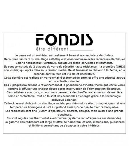 Description radiateur Solaris vertical 1500W de la marque Fondis - Valente Design