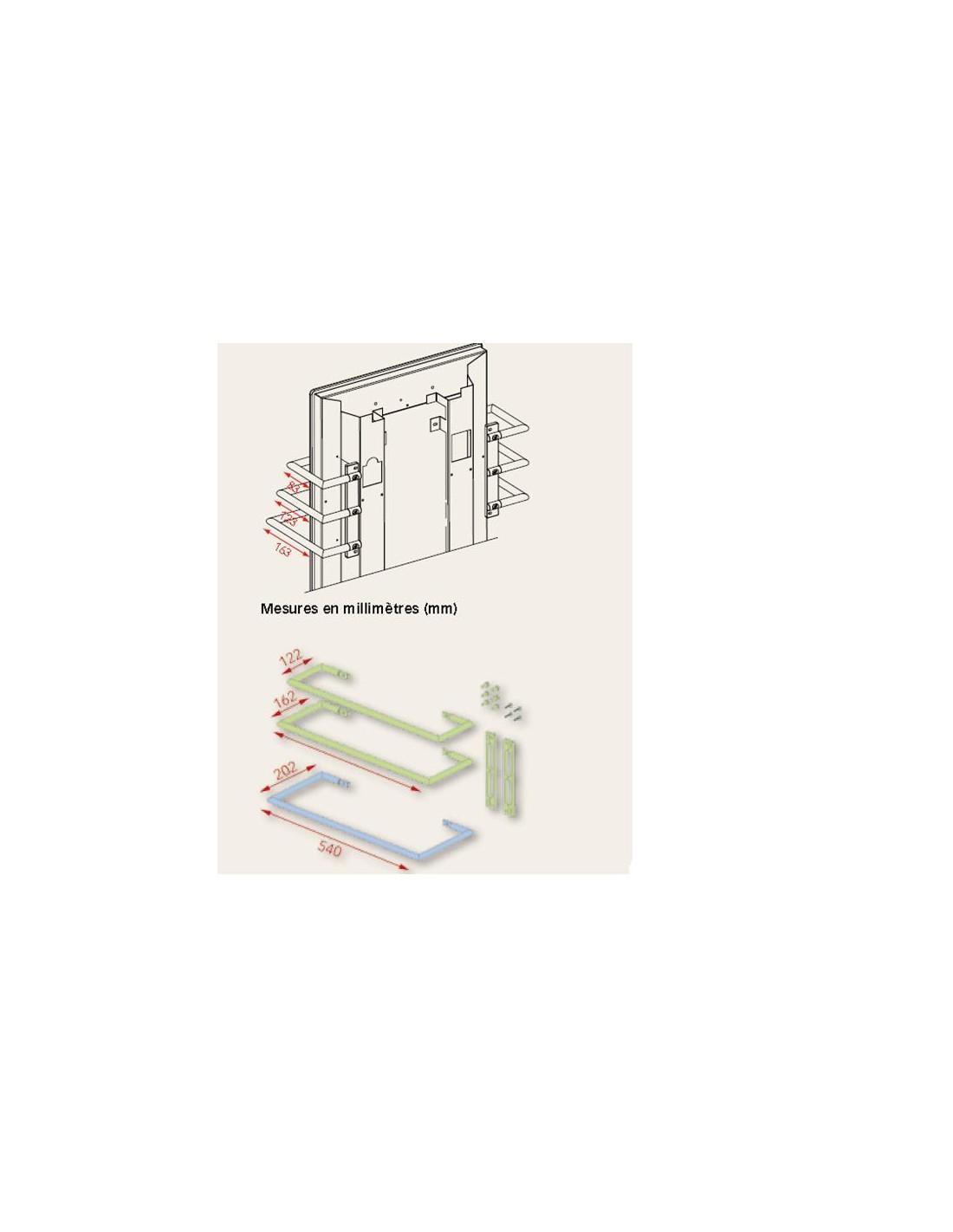 Dimensions  Barre Porte serviettes chromèe 63 cm pour radiateurs Solaris de la marque Fondis