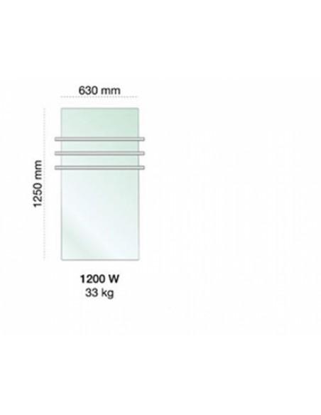 Tailles sèche serviettes Solaris 1200w blanc reflet vert - Valente Design