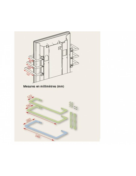 Dimensions sèche serviettes 1000w Solaris 63 1000w Fondis - Valente Design