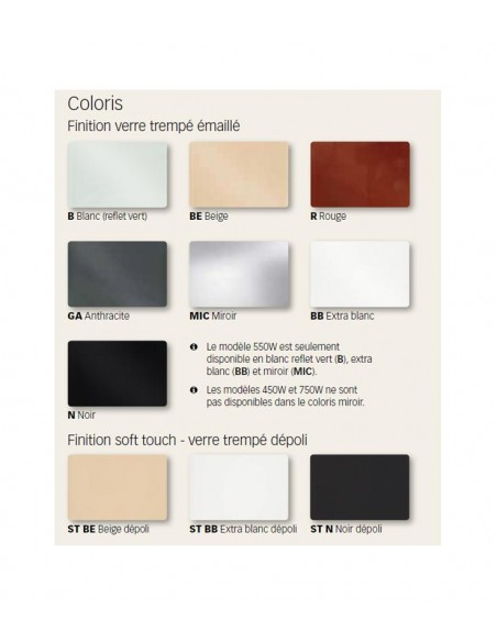 Teintes sèche serviettes Solaris 63 1000w Fondis - Valente Design