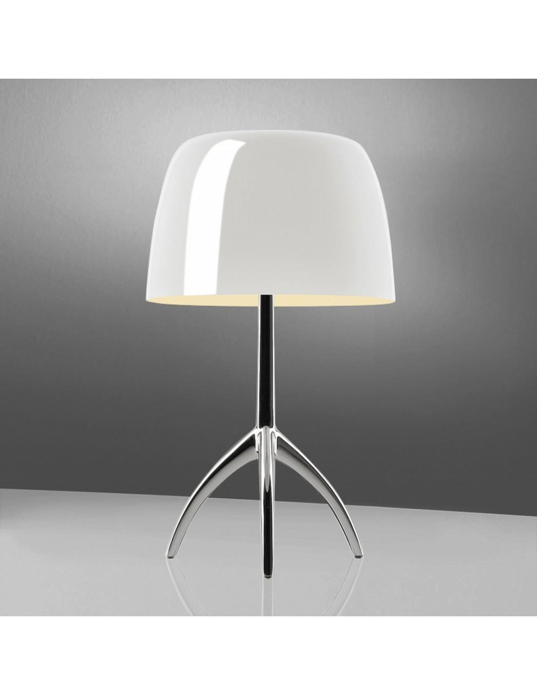 lampe de table lumi re 05 grande aluminium poli blanche. Black Bedroom Furniture Sets. Home Design Ideas