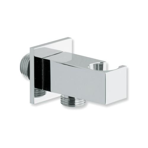 Support douchette Carré avec sortie d'eau