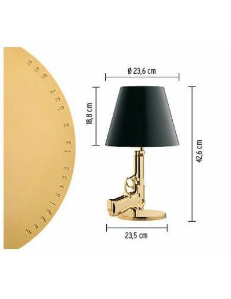 Schéma de la lampe de table Bedside Gun par Philippe Starck de flos - Valente design