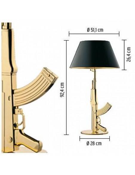 Schéma de la lampe de table Gun de Philippe Starck pour la marque flos - Valente Design