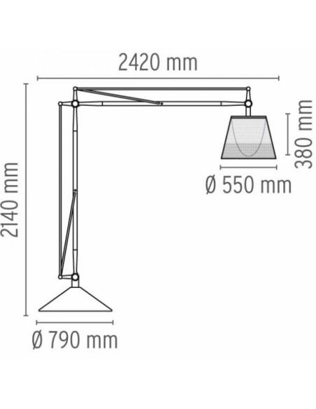 Schéma du lampadaire d'extérieur Superarchimoon outdoor de Philippe Starck pour flos chez Valente Design