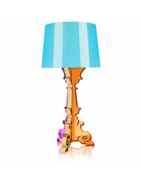 Lampe de table Bourgie Métallisée  multicolore abat jour cyan pour la marque Kartell