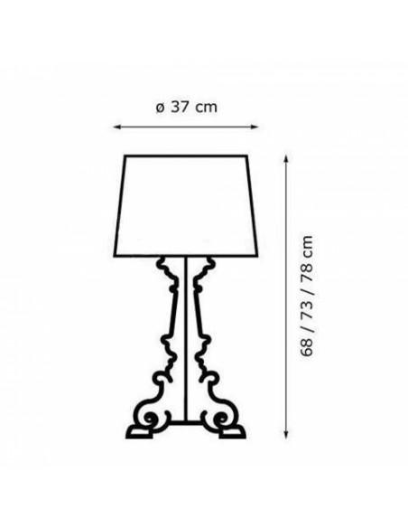 Lampe de table Bourgie plan dimensions pour la marque Kartell
