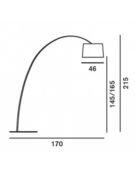 Dimension lampadaire TWIGGY Foscarini - Valente Design